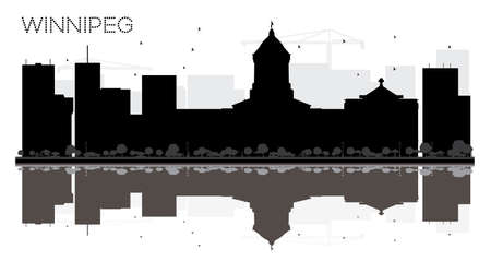winnipeg: Winnipeg City skyline black and white silhouette with reflections vector illustration. Illustration