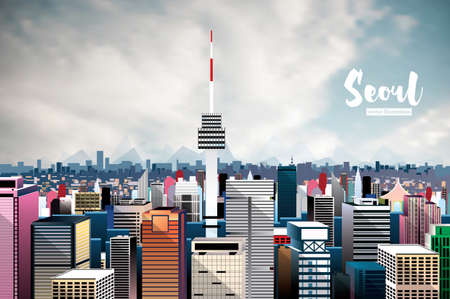 Seoul City Skyline vector Illustration Aerial View.