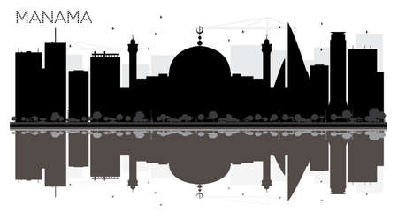 Manama City skyline black and white silhouette with reflections vector illustration.