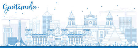 Outline Guatemala Skyline with Blue Buildings. Vector Illustration. Business Travel and Tourism.