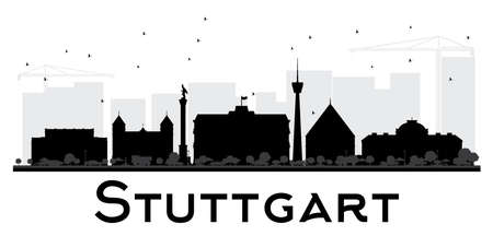 stuttgart: Stuttgart City skyline black and white silhouette. Vector illustration. Simple flat concept for tourism. Illustration