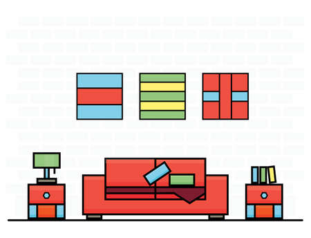 modern living room: Red Sofa with Two Curbstones. Vector Illustration. Room Interior. Illustration
