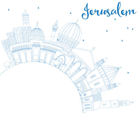 israel people: Outline Jerusalem Skyline with Blue Buildings and Copy Space. Vector Illustration. Business Travel and Tourism Concept with Historic Architecture. Image for Presentation Banner Placard and Web Site.