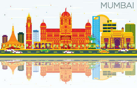Mumbai Skyline with Color Buildings, Blue Sky and Reflections. Vector Illustration. Business Travel and Tourism Concept with Modern Architecture. Image for Presentation Banner Placard and Web Site. Illustration