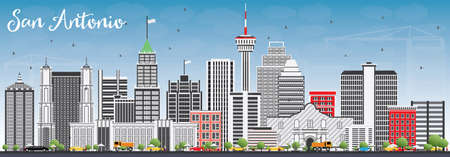 San Antonio Skyline with Gray Buildings and Blue Sky. Vector Illustration. Business Travel and Tourism Concept with Modern Architecture. Image for Presentation Banner Placard and Web Site.