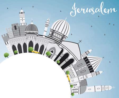 Jeruzalem Skyline met grijs gebouwen, blauwe hemel en kopie ruimte. Vector illustratie. Bedrijfsreis en toerismeconcept met historische architectuur. Afbeelding voor presentatie Banner Aanplakbiljet en website.