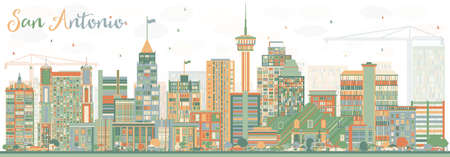 Abstract San Antonio Skyline with Color Buildings. Vector Illustration. Business Travel and Tourism Concept with Modern Architecture. Image for Presentation Banner Placard and Web Site.