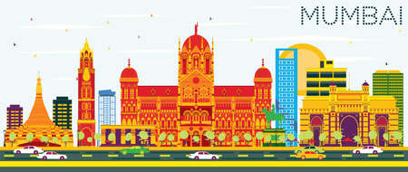 Mumbai Skyline with Color Buildings and Blue Sky. Vector Illustration. Business Travel and Tourism Concept with Modern Architecture. Image for Presentation Banner Placard and Web Site. Illustration
