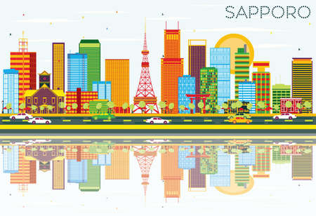 Sapporo Skyline with Color Buildings, Blue Sky and Reflections. Vector Illustration. Business Travel and Tourism Concept with Modern Architecture. Image for Presentation Banner Placard and Web Site.