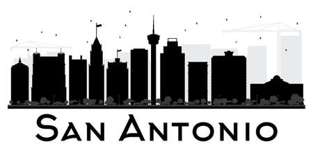 San Antonio City skyline black and white silhouette. Vector illustration. Simple flat concept for tourism presentation, banner, placard or web site. Cityscape with landmarks. Illustration