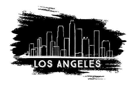 Los Angeles Skyline Silhouette. Hand gezeichnete Skizze. Geschäftsreise-und Tourismus-Konzept mit moderner Architektur. Bild für Präsentation Banner Plakat und Website. Vektor-Illustration.