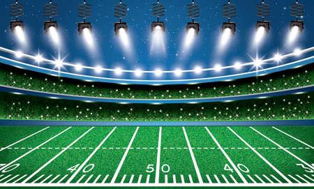 스포트 라이트와 함께 미국의 축구 경기장 경기장입니다. 벡터 일러스트 레이 션. 스톡 콘텐츠 - 77060393
