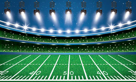 American Football Stadium Arena with Spotlights. Vector Illustration.