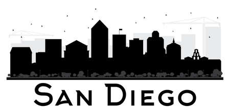 animal silhouette: San Diego City skyline black and white silhouette. Vector illustration. Simple flat concept for tourism presentation, banner, placard or web site. Cityscape with landmarks.
