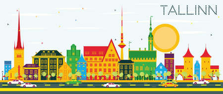 Tallinn Skyline with Color Buildings and Blue Sky. Vector Illustration. Business Travel and Tourism Concept with Historic Architecture. Image for Presentation Banner Placard and Web Site.