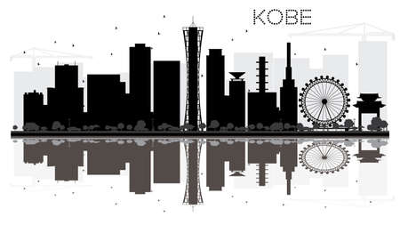 Kobe City skyline black and white silhouette with reflections. Vector illustration. Simple flat concept for tourism presentation, banner, placard or web site. Cityscape with landmarks