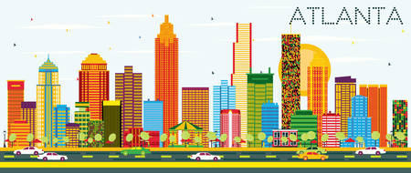Atlanta Skyline with Color Buildings and Blue Sky. Vector Illustration. Business Travel and Tourism Concept with Modern Architecture. Image for Presentation Banner Placard and Web Site.