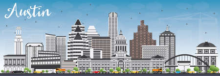 Austin Skyline with Gray Buildings and Blue Sky. Vector Illustration. Business Travel and Tourism Concept with Modern Architecture. Image for Presentation Banner Placard and Web Site.
