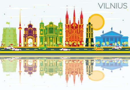 Vilnius Skyline with Color Buildings, Blue Sky and Reflections. Vector Illustration. Business Travel and Tourism Concept with Historic Architecture. Image for Presentation Banner Placard and Web Site.