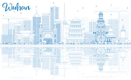 city: Outline Wuhan Skyline with Blue Buildings and Reflections. Vector Illustration. Business Travel and Tourism Concept with Modern Architecture. Image for Presentation Banner Placard and Web Site. Illustration