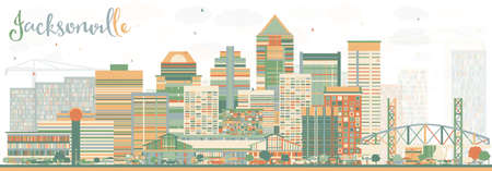 Abstract Jacksonville Skyline with Color Buildings. Vector Illustration. Business Travel and Tourism Concept with Modern Architecture. Image for Presentation Banner Placard and Web Site.