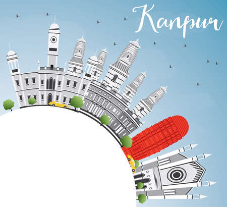 Kanpur Skyline with Gray Buildings, Blue Sky and Copy Space. Vector Illustration. Business Travel and Tourism Concept with Historic Architecture. Image for Presentation Banner Placard and Web Site.