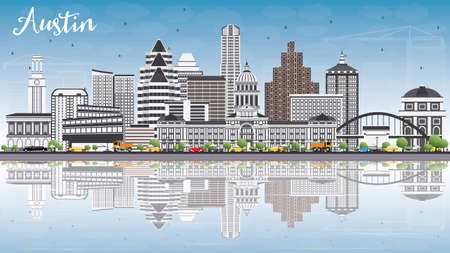 Austin Skyline with Gray Buildings, Blue Sky and Reflections. Vector Illustration.