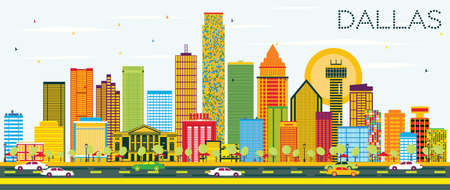 Dallas Skyline with Color Buildings and Blue Sky. Vector Illustration.