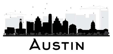 Austin City skyline black and white silhouette. Vector illustration. Simple flat concept for tourism presentation, banner, placard or web site. Cityscape with landmarks.