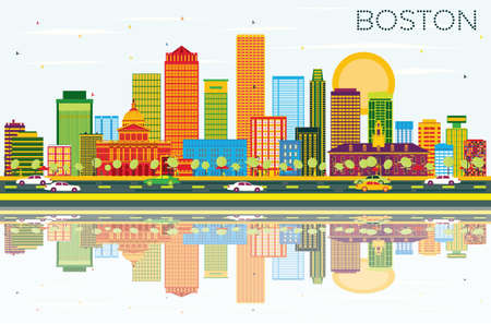 Boston Skyline with Color Buildings, Blue Sky and Reflections. Vector Illustration. Business Travel and Tourism Concept with Modern Buildings. Image for Presentation Banner Placard and Web Site.