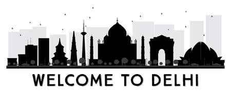 Delhi City Skyline Black and White Silhouette. Vector Illustration. Illustration