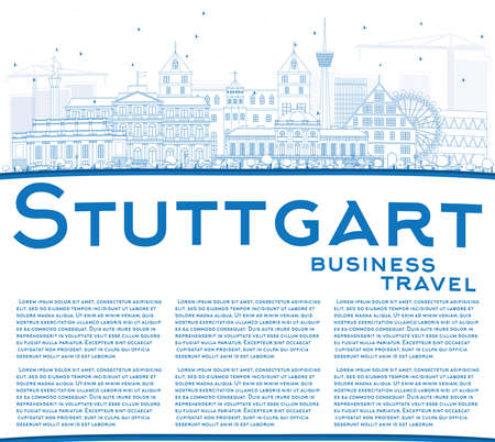 stuttgart: Outline Stuttgart Skyline with Blue Buildings and Copy Space. Vector Illustration. Business Travel and Tourism Concept with Historic Architecture. Image for Presentation Banner Placard and Web Site.