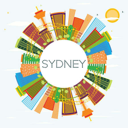 sydney skyline: Sydney Skyline with Color Buildings, Blue Sky and Copy Space. Vector Illustration. Business Travel and Tourism Concept with Modern Architecture. Image for Presentation Banner Placard and Web Site.