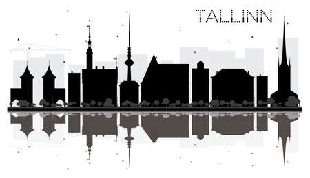 Tallinn City skyline black and white silhouette with reflections. Vector illustration. Simple flat concept for tourism presentation, banner, placard or web site. Cityscape with landmarks.
