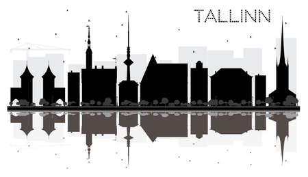 Tallinn City Skyline Schwarz-Weiß-Silhouette mit Reflexionen. Vektor-Illustration. Einfaches flaches Konzept für Tourismusdarstellung, Fahne, Plakat oder Website. Stadtansicht mit Sehenswürdigkeiten. Standard-Bild - 77412575