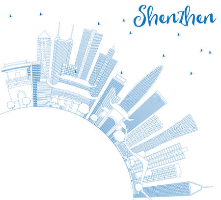 Outline Shenzhen Skyline with Blue Buildings and Copy Space. Vector Illustration.