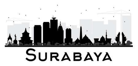 Surabaya City skyline black and white silhouette. Vector illustration.