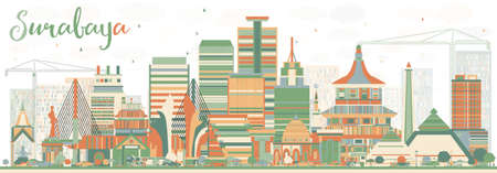 Abstract Surabaya Skyline with Color Buildings. Vector Illustration.