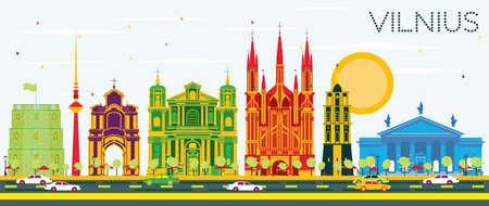horizonte de vilnius con edificios de color y cielo azul. ilustración vectorial .