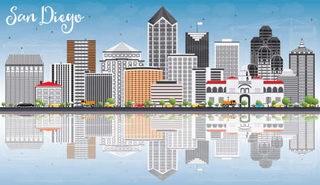 San Diego Skyline with Gray Buildings, Blue Sky and Reflections. Vector Illustration. Иллюстрация