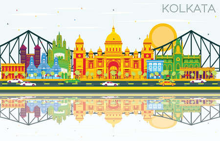 Kolkata Skyline with Color Landmarks, Blue Sky and Reflections. Vector Illustration. Business Travel and Tourism Concept with Historic Buildings. Image for Presentation Banner Placard and Web Site.