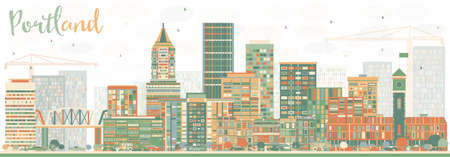 Abstract Portland Skyline with Color Buildings. Vector Illustration. Business Travel and Tourism Concept with Modern Architecture. Image for Presentation Banner Placard and Web Site.