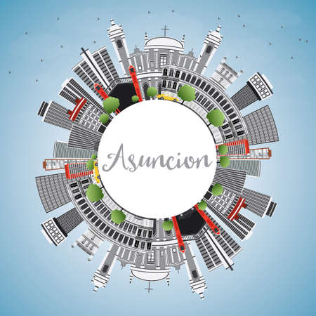 Asuncion Skyline with Gray Buildings, Blue Sky and Copy Space. Vector Illustration. Business Travel and Tourism Concept with Modern Architecture. Image for Presentation Banner Placard and Web Site. Illustration