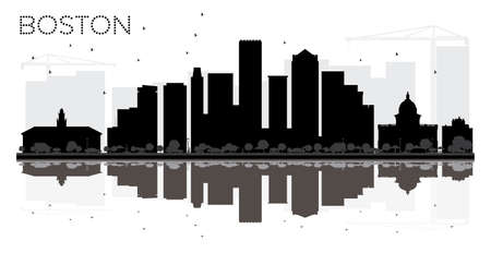 Boston City skyline black and white silhouette with reflections. Vector illustration. Simple flat concept for tourism presentation, banner, placard or web site. Cityscape with landmarks.