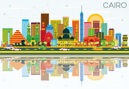 Skyline du Caire avec des bâtiments de couleur, bleu ciel et réflexions. Illustration vectorielle Concept de voyage d'affaires et de tourisme avec des bâtiments historiques. Image pour Placard de bannière de présentation et site Web.