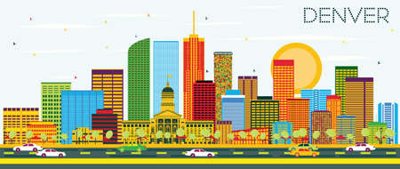 denver: Denver Skyline with Color Buildings and Blue Sky. Vector Illustration. Business Travel and Tourism Concept with Modern Buildings. Image for Presentation Banner Placard and Web Site.