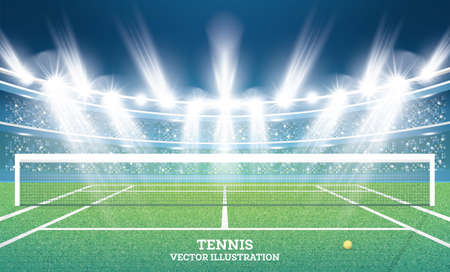 Tennis Court with Green Grass and Spotlights. Vector Illustration. Çizim