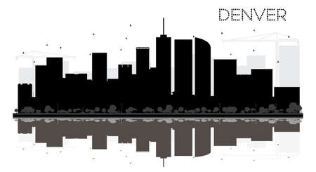 Denver City skyline black and white silhouette with reflections. Vector illustration. Simple flat concept for tourism presentation, banner, placard or web site. Cityscape with landmarks.
