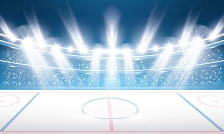 Ice Hockey Stadium with Spotlights. Vector Illustration.