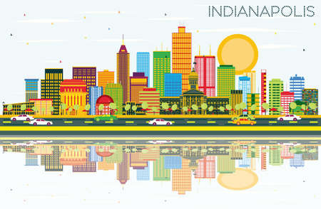 indianapolis: Indianapolis Skyline with Color Buildings, Blue Sky and Reflections. Vector Illustration. Business Travel and Tourism Concept with Modern Buildings. Image for Presentation Banner Placard and Web Site.